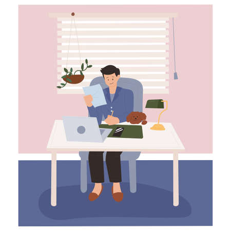 work from home. A man is working from home, and a cute puppy is disturbing him next to him. flat design style minimal vector illustration. Vettoriali