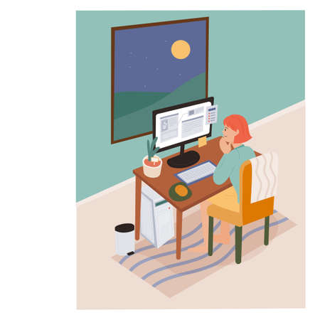 work from home. A woman is working at her computer and the moon is outside her window. flat design style minimal vector illustration.