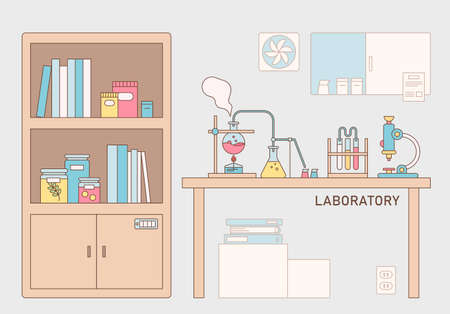 scientific laboratory laboratory. Experimental equipment is placed on the table and there is a bookshelf next to it. outline simple vector illustration.