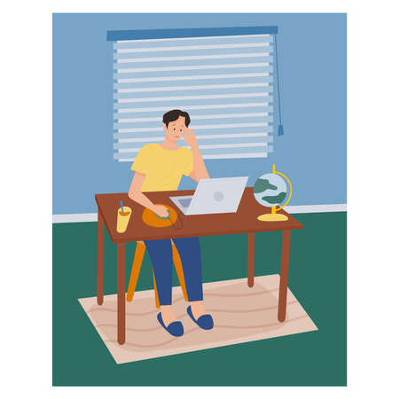 work from home. A man is working while looking at her laptop. flat design style minimal vector illustration. Vettoriali