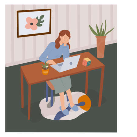 work from home. A woman is working while looking at her laptop. flat design style minimal vector illustration. Vettoriali