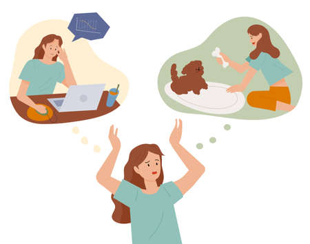 A woman is struggling between two thoughts. A woman working and a woman playing with her dog. flat design style minimal vector illustration.