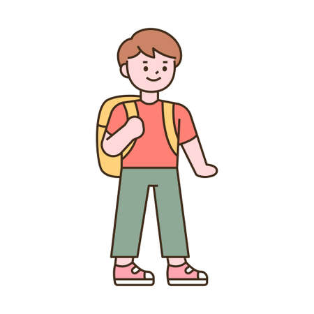 Cute students character. A boy standing with a bag. outline simple vector illustration. 일러스트