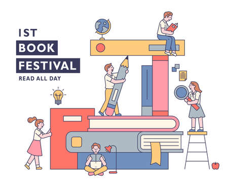 Book festival banner poster. Students are sitting around a pile of huge books and studying. outline simple vector illustration. Vettoriali