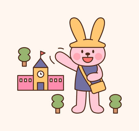 Cute rabbit student character. The rabbit is greeting in front of the school. outline simple vector illustration. 일러스트