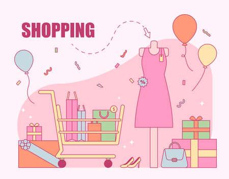 Shopping sale event banner poster. outline simple vector illustration. 일러스트