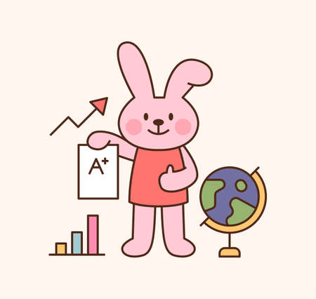 Cute rabbit student character. A rabbit is standing holding a test paper. outline simple vector illustration.