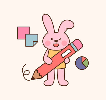 Cute rabbit student character. A rabbit is standing with a large pencil. outline simple vector illustration.