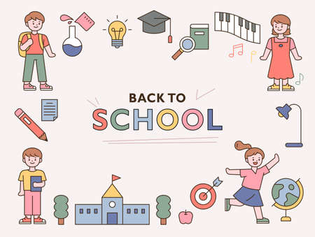 Back to school. Cute students and education icons. outline simple vector illustration.