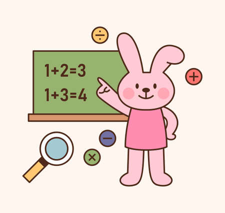 Cute rabbit student character. The rabbit is solving a math problem on the blackboard. outline simple vector illustration.