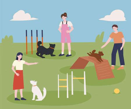 Agility Dog Training Camp. flat design style minimal vector illustration.