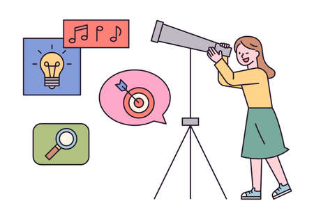 A girl is looking through a telescope. outline simple vector illustration.