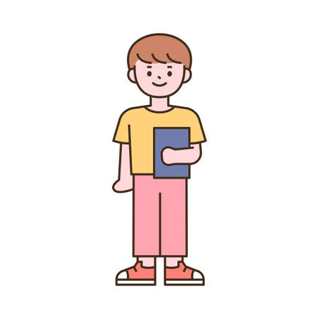 Cute students character. A boy standing with a book. outline simple vector illustration.