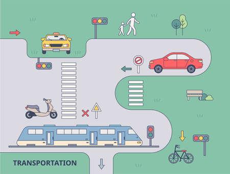 Ride transport poster. outline simple vector illustration.