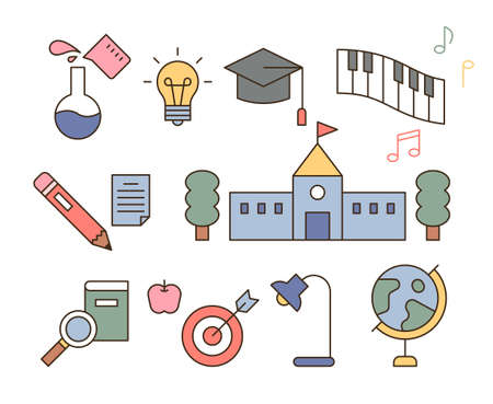 Education icons. outline simple vector illustration.