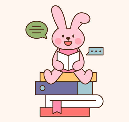 Cute rabbit student character. A rabbit is sitting on a pile of books and reading a book. outline simple vector illustration.