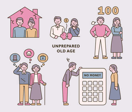 A man and a woman who worry about their old age and make various asset plans. outline simple vector illustration.
