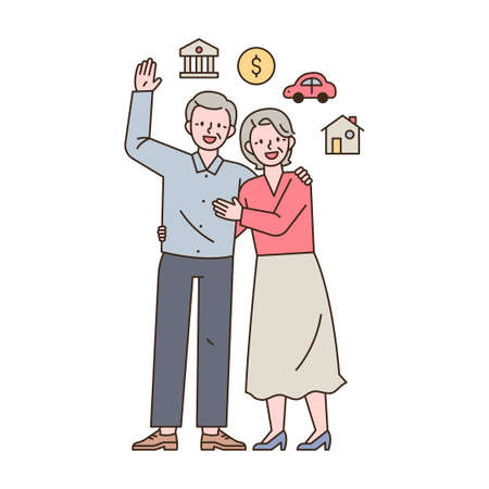 Two elderly couples are standing with happy expressions and there are asset icons around them. outline simple vector illustration.