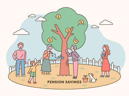 Families, including the elderly and babies, are caring for the money tree together. outline simple vector illustration. 일러스트
