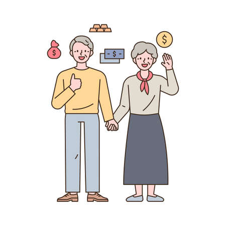 Two old couples holding hands and making a happy gesture, with money icons around them. outline simple vector illustration.