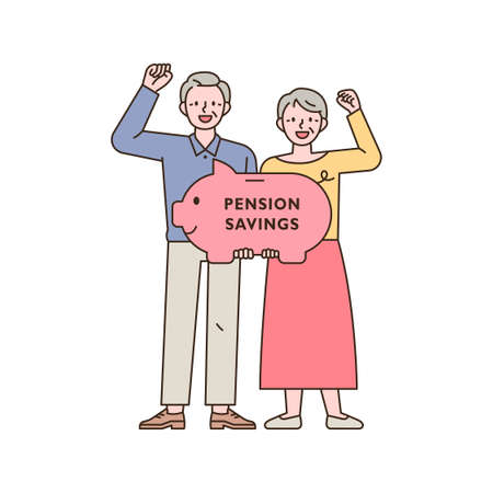 Two old men are cheering with piggy banks. outline simple vector illustration.