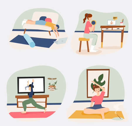 People are doing home workouts watching workout videos. flat design style minimal vector illustration.
