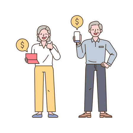 Two old men are looking at the accumulation of assets through bankbooks and mobile banking. outline simple vector illustration. 일러스트