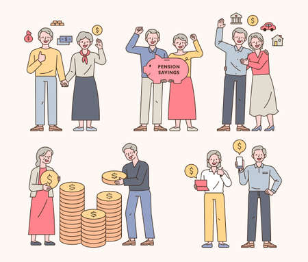 A collection of characters of an elderly couple who manage wealth for old age. outline simple vector illustration.