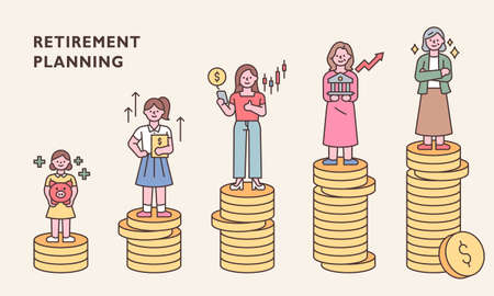 Characters by age are standing on top of stacked coins. outline simple vector illustration.