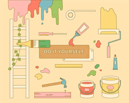 A collection of paint tools for DIY self-interiors. Outline simple vector illustration.