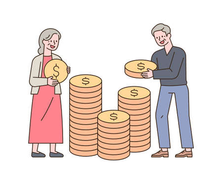 Two old men are stacking coins. outline simple vector illustration.
