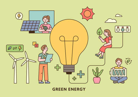 People holding green energy icons around a large light bulb. outline simple vector illustration.