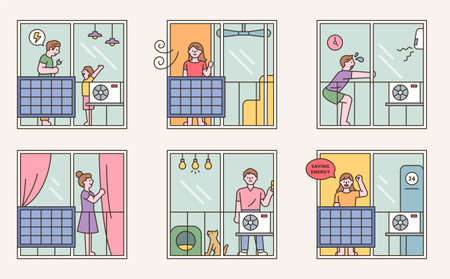 People are explaining how to save electricity. outline simple vector illustration.