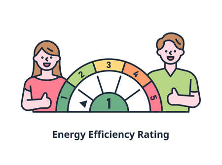 Logo sticker indicating energy efficiency rating. outline simple vector illustration. 일러스트