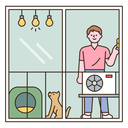 A man is standing in front of a window with an outdoor unit in front of him. outline simple vector illustration.