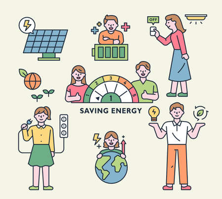 Electric energy saving infographic characters collection. outline simple vector illustration.