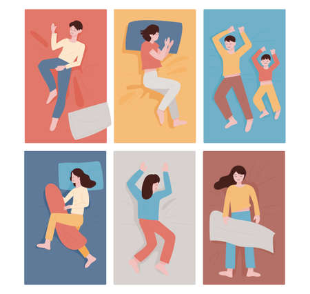Sleeping people in different postures. flat design style minimal vector illustration.