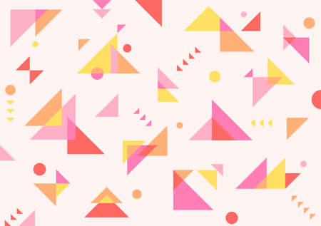 It consists of red, pink and yellow triangles of various sizes stacked on top of each other. Simple pattern design template. 일러스트