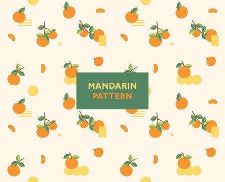 Cute and refreshing mandarin pattern. Simple pattern design template.