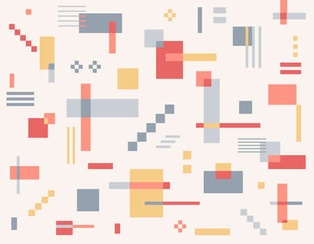 Squares of various shapes and sizes are intertwined to create a retro style. Simple pattern design template.