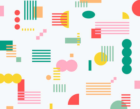 Striped squares and circular shapes scattered in various sizes on a white background. Simple pattern design template. 일러스트