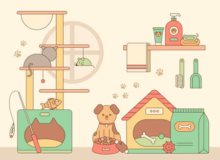 Cute dogs and cats. pet supplies. outline simple vector illustration