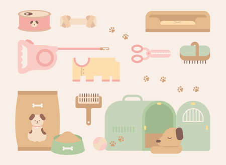 Set of cute dog and pet supplies. flat design style minimal vector illustration.