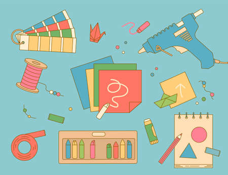 Hobby crafts art supplies are scattered. outline simple vector illustration
