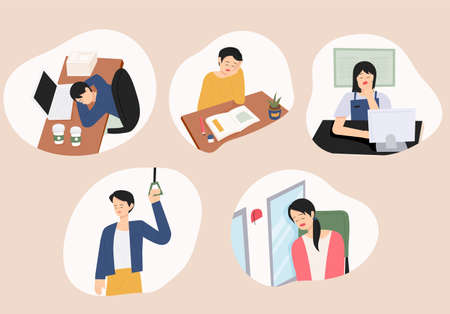 People sleeping with tired faces in various places. flat design style minimal vector illustration.