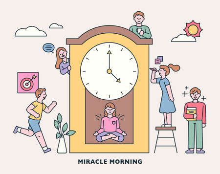 People who live a planned day on time. People gather around a huge clock. outline simple vector illustration.