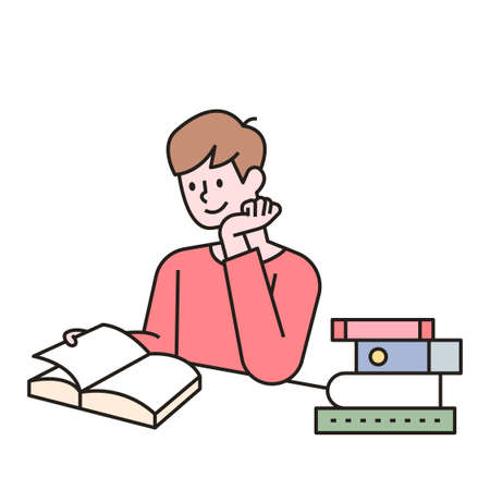 A man is reading a book at his desk, with books stacked next to him. outline simple vector illustration.