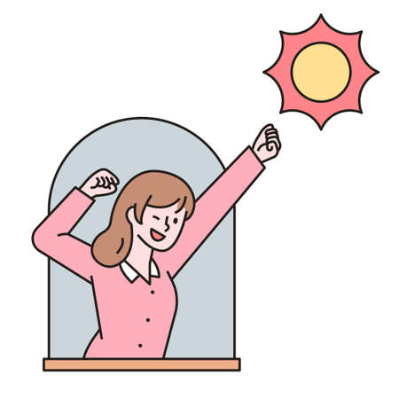 A woman is stretching out the window. outline simple vector illustration.