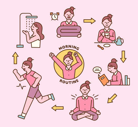 Self-development. A girl is executing her morning routine in order. outline simple vector illustration. 일러스트