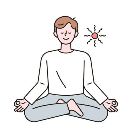 A man is sitting cross-legged and meditating. outline simple vector illustration.